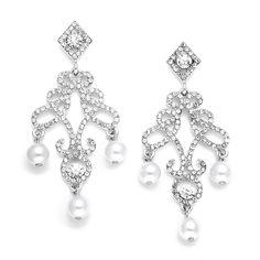 Boucles d'oreilles chandelier mariage perles