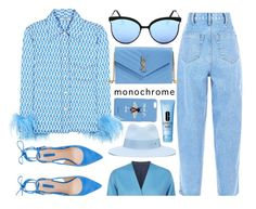 """One Color, Head To Toe"" by smartbuyglasses-uk ❤ liked on Polyvore featuring Gucci, Quay, Weekend Max Mara, Prada, Yves Saint Laurent, Maison Michel, Clinique, monochrome and Blue"