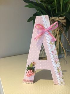 Sweet Pink  A Wood Monogram Letters, Diy Letters, Floral Letters, Letter A Crafts, Letter Wall Decor, Nursery Letters, Decoupage Letters, Decorated Letters, Cowgirl Baby