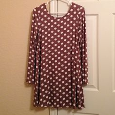 Polka dot tunic with bow back Brand new without tags, never worn. Mocha with cream polka dots. Bow on back is black. Long sleeve. Mon Ami Tops Tunics
