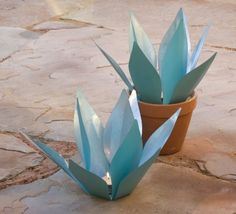 Agave Plant Galvanized Metal Tealight/Votive Candle Holder by In the Garden and More, http://www.amazon.com/dp/B006ZZ9COE/ref=cm_sw_r_pi_dp_31O8rb0RGVZ78