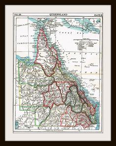 1885 QUEENSLAND AUSTRALIA Antique Map