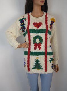 Vintage 1980s White Longline Festive Novelty Christmas Jumper from Virtual Vintage Clothing