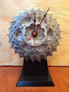 Recycled Bicycle Cog Desk Clock Made with Chicago Bicycle Map