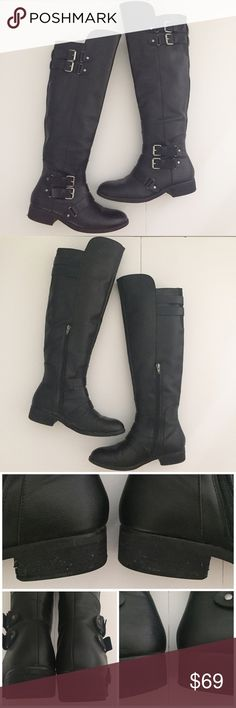 """Dolce Vita Black Riding Boots Beautiful black riding boots from DV by Dolce Vida! Size 9.5 (size indicator on back of small tag inside boot). Faux leather upper. Has decorative silver buckle accents, a rounded toe, and side zip closure on the inside (9 1/2"""" long). Has a textile lining with a lightly padded insole and man-made outsole. Heel is 1"""". 18 3/4"""" tall on back and 20 1/2"""" tall on front length. Shoes are in overall great condition but do have wear on the heels. I've provided pictures…"""