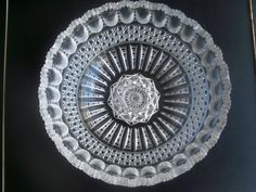 Cut Crystal Glass Saw Tooth Rim Heavily Decorated Bowl