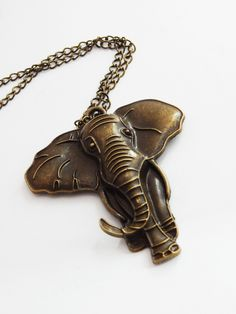New to TheBlackerTheBerry on Etsy: Elephant Necklace Brass Elephant Pendant Necklaces Animal Big Elephant Jewelry African Necklaces Statement Cute