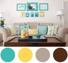 Paleta de cores para sala de estar: turquesa, amarelo, bege e marrom. Como combinar as cores na decoração. Veja mais no blog!