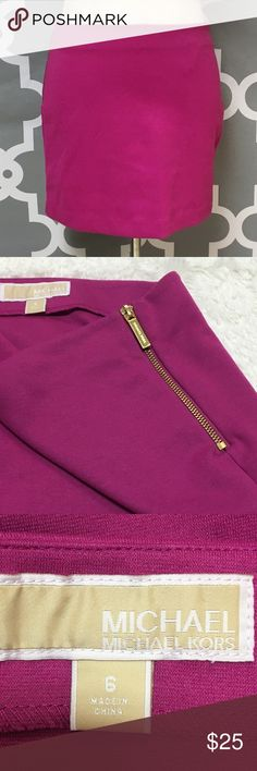 Michael Kors Hot Pink Zipper Side Mini Skirt 🔘Description: Michael Michael Kors Hot Pink Zipper Side Mini Skirt gold zippers good used condition women's size 8   🔘Measurements:   Hip to Hip: 16 inches               Hip to Hem: 15 inches                                                        Inventory: D    If you have any questions please feel free to let me know!                                Thanks for stopping by! MICHAEL Michael Kors Skirts Mini