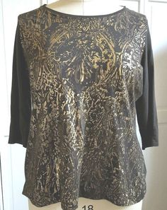 Tahari Top Blouse Women's Plus 2X Knit 3/4 Sleeve Light Weight Brown Gold   #Tahari #KnitTop #Casual