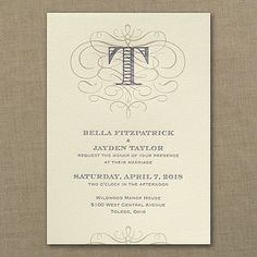Make Your Mark - Invitation - Ecru - Wedding Invitations, Letterpress Invitations, Wedding Announcements, Scroll Design Wedding Invitations, Monogram Initial Invitation, Flourish Style