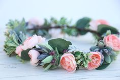 Stunning pink succulent flower crown set, headpiece, flower wreath. Bridal bohemian headpiece. It can also be adjustable on a ribbon. All sizes available. Perfect for a wedding party, style photo shoot or an awesome outdoor festival, birthday party. *Please expect a bit of variation in your crown, since they are handmade the placement and appearance will vary slightly. Flower crown, flower headband, flower crown headband, flower crown wedding, flower crown for girls, bridesmaid flower cro...