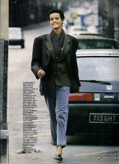☆ Nadege Du Bospertus | Photography by Marc Hispard | For Elle Magazine France | November 1990 ☆ #nadegedubospertus #marchispard #elle #1990