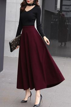 Classical flared skirt for girls Classical flared skirt for girls Classical flared skirt for girls ,Xiaolizi Assortment lengthy winter flare skirt outfits Long Skirt Outfits, Dress Outfits, Long Skirt Style, Skirt Outfits For Winter, Rock Outfits, Summer Outfits, Modest Dresses, Stylish Dresses, Modest Clothing