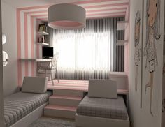 Bricolagem e Decoração: Quarto para duas meninas muito original