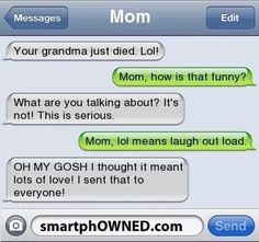 Terrible Texts From Moms - funny messages, funny text fails, texting jokes Text Jokes, Funny Text Fails, Funny Text Messages, Positive Messages, Lol Text, Mean Humor, Message Mom, Laughing So Hard, Just For Laughs