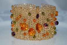 Crocheted Wire Beaded Cuff Bracelet, Crochet Wire Bracelet, Crystal Cuff Bracelet, Gold Wire with Swarovski Hearts, Crochet Wire Jewelry