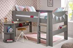 Solitaire Cool Grey Mid sleeper with Pull Out Desk (Girl) Mid Sleeper With Desk, Childrens Mid Sleeper Beds, Kids Mid Sleeper, Toddler Loft Beds, Girls Cabin Bed, Cabin Beds For Kids, Boys Bedroom Decor, Bedroom Bed, Bedroom Ideas