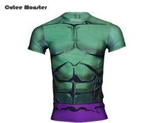 Camiseta homens 2016 homens verão camisa compressão o Hulk calças de manga  curta dos homens t 591bd7def33ea