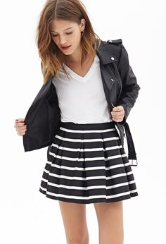 Pleated Stripe Skirt #F21StatementPiece