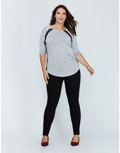 Hacci Tee with Lace | Lane Bryant