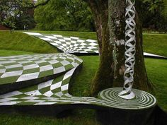 The Garden of Cosmic Speculation is a 30 acre sculpture garden created by landscape architect and theorist Charles Jencks at his home, Portrack House, near Dumfries in South West Scotland.
