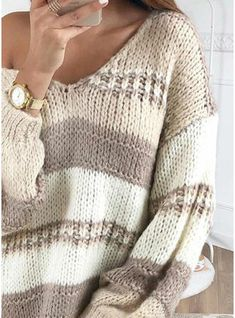 [£ Color Block/Chunky knit/Cable-knit Long Sleeves Shift Above Knee Casual/Long/Oversized Dresses - VeryVoga Vogue Knitting, Baby Knitting, Knitted Baby, Vintage Knitting, Oversized Dress, Knit Fashion, Knitted Blankets, Pulls, Diy Clothes