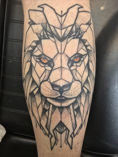 Geometric Lion Tattoo On My Calf, Leg