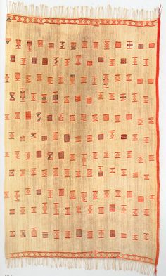 Collected 1844-47, Danish National Museum, Copenhagen. As well as the range of weft float motifs in this remarkable early cloth we can note the distinct borders and the red edge strip,