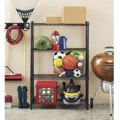 Adjustable Storage Shelf 4 Shelves Steel Frame Black Finish Garage Kitchen Shop…