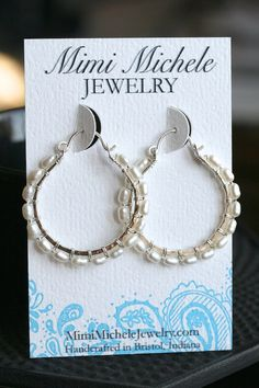 Handmade white pearl hoops large hoops by MimiMicheleJewelry, $47.50