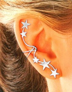 Cool Earrings 5 Star Ear Cuff in Sterling Silver