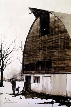 """2001, Last Days Of Winter by Joseph Alleman Watercolor ~ 26"""" x 16"""""""