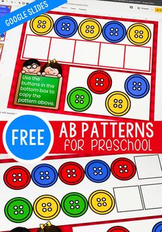 This free pattern activity is perfect for preschoolers. Using Google slides is super fun for kids. Use this AB patterns for preschool in your preschool math centers to allow your preschool students to have some extra practice working on their patterns. #patternactivities #patterns #patternactivity #preschool #freegoogleslides #googleslides Educational Activities For Preschoolers, Preschool Printables, Fun Math, Preschool Activities, Preschool Classroom Centers, Preschool Workbooks, Hands On Activities, Kids Learning, Free Printables