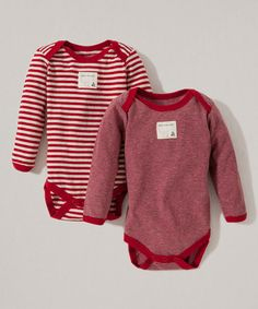 Love this Cranberry Candy Cane Stripe Organic Bodysuit Set - Infant by Burt's Bees Baby on #zulily! #zulilyfinds