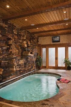 Interior, vertical, indoor pool with water falls, Bisbee residence, Sandpoint, Idaho, Precision Craft Inc.