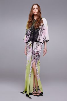 Long Kimono Floral silk kaftan Kaftans Roberto Cavalli