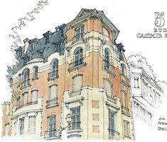 Paris, rue Casimir Périer # France #Paris #maison #sketch #sketchbook #seawhiteofbrighton #usk #watercolor