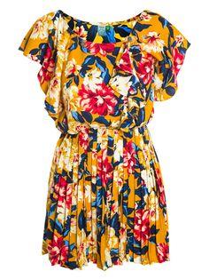 Shop2gether - Vestido Plissado Floral Lova - Farm - Laranja
