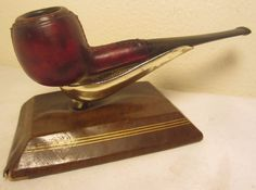 Vintage Deauville France Leatherbound Straight Apple Briar Tobacco Smoking Pipe