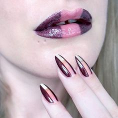 Negative space lip art and nail art . Gerard Cosmetics Metal Matte 'Underworld' // Maybellined Baby Lips Gloss Essie 'Ready To Boa' // Seche Vite topcoat