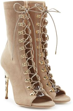 Balmain Lace Up Suede Boots with Metallic Stiletto Heel #MediciMode Follow me: http://www.Instagram.com/MediciMode & http://www.Facebook.com/MediciMode. Subscribe to The M List: http://www.MediciMode.com/subscribe