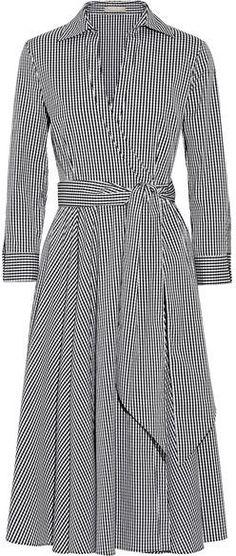 Michael Kors Collection - Gingham Stretch Cotton-blend Poplin Wrap Dress - Black - Another! Modest Fashion, Hijab Fashion, Trendy Fashion, Fashion Dresses, Womens Fashion, Dress Skirt, Wrap Dress, Shirt Dress, Dress Vestidos