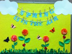 Spring bulletin board for Storytime room. by yolanda Kindergarten Bulletin Boards, Spring Bulletin Boards, Classroom Bulletin Boards, Classroom Door, Classroom Ideas, Spring School, Spring Activities, Preschool Activities, School Decorations