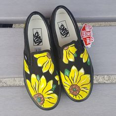 860cbdb0db4 Custom Sunflower Vans Shoes Hand Painted