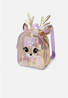 Justice For Girls Deer Glitter Make-Up Cosmetic Backpack Set - skincare. Justice Backpacks, Justice Bags, Justice Store, Justice Accessories, Girls Accessories, Clothing Accessories, Tween Girls, Toys For Girls, Cute Mini Backpacks