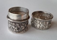 ANTIQUE ORNATE JACOBI & JENKINS REPOUSSE STERLING SILVER BOX W REMOVABLE LID