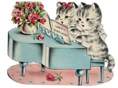 vintage piano kittens art print, with thanks to my dear Pin-friend Ashaley Lenora for sending it to me on Vintage Artwork, Vintage Images, Gifs, C Is For Cat, Cats Musical, Decoupage Vintage, Cat Cards, Vintage Birthday, Here Kitty Kitty