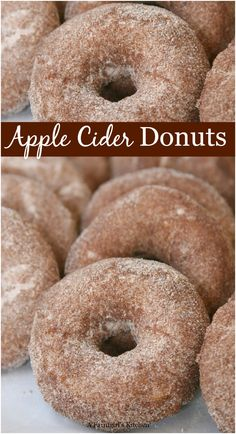BEST Apple Cider Doughnuts (Homemade Cake Donuts) Apple Cider Doughnuts are a cake style doughnut rolled in a cinnamon sugar mixture. Super simple to make and can be made AHEAD of time! Best Apple Cider, Homemade Apple Cider, Tolle Desserts, Köstliche Desserts, Healthy Desserts, Homemade Donuts, Homemade Cakes, Homemade Recipe, Homemade Desserts