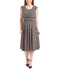 Another great find on #zulily! Black Lattice A-Line Dress #zulilyfinds